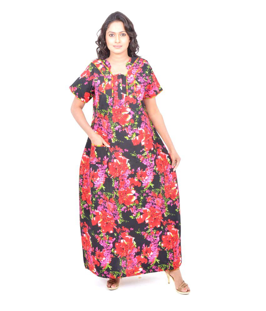 d3d6a19f90 Buy Pommys Red Cotton Nighty Online at Best Prices in India - Snapdeal