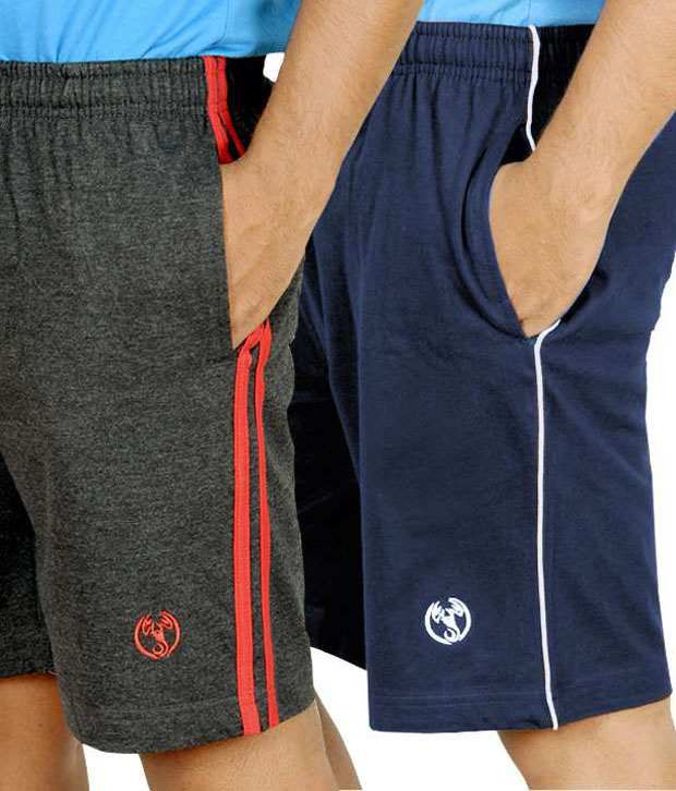 Scorpion Charcoal Melange,navy Blue Shorts With Piping & Folding - Pack Of 2