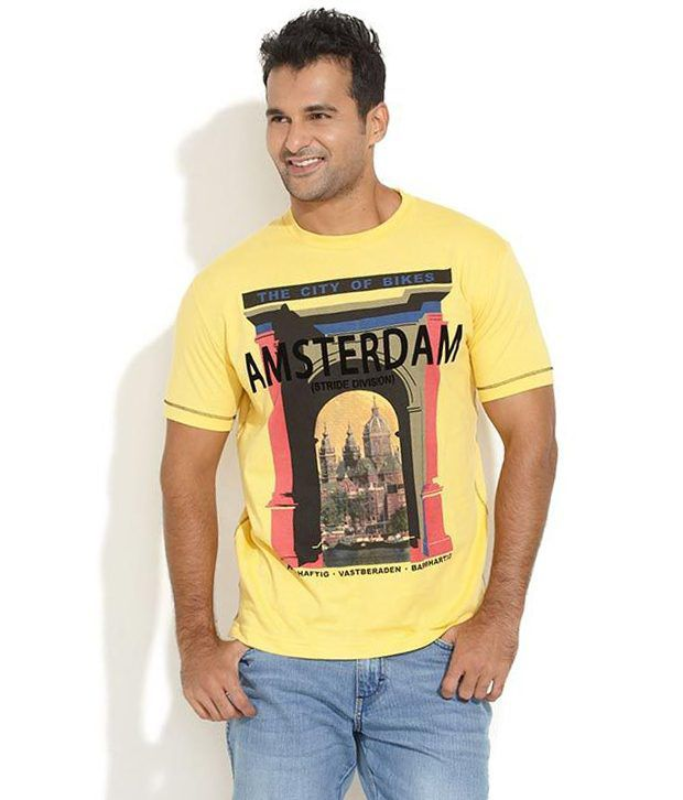 Stride Yellow Cotton T-shirt