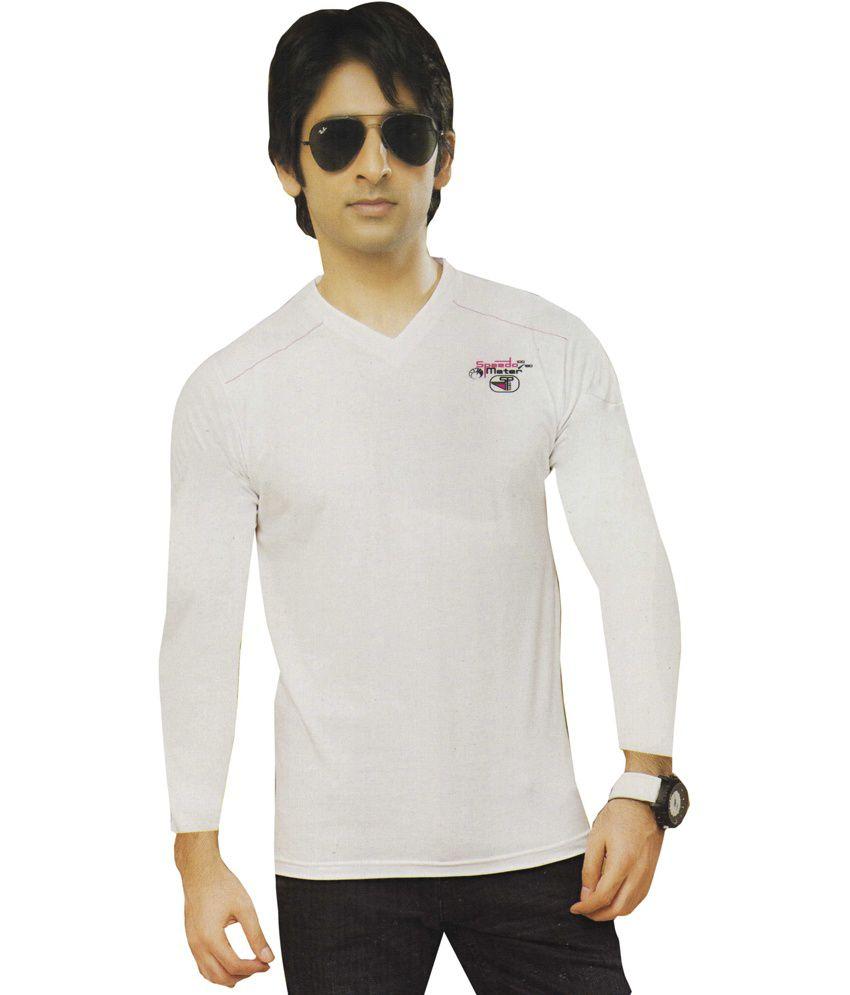 AJC V-Neck White Full Cotton T-Shirt