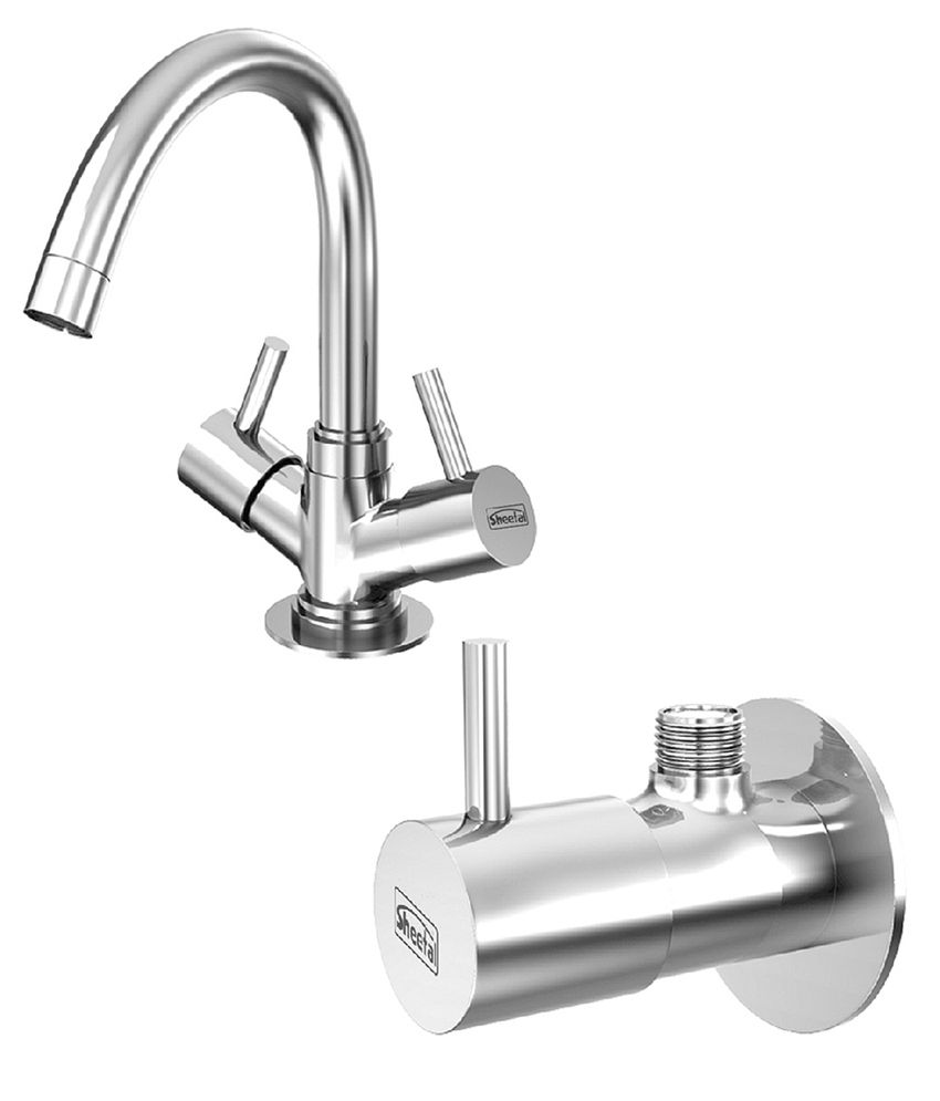 Sheetal - Shine Centre Hole Basin  Mixer Without Pop-Up West  System and Set of 2 Angular Stop Cock Combo