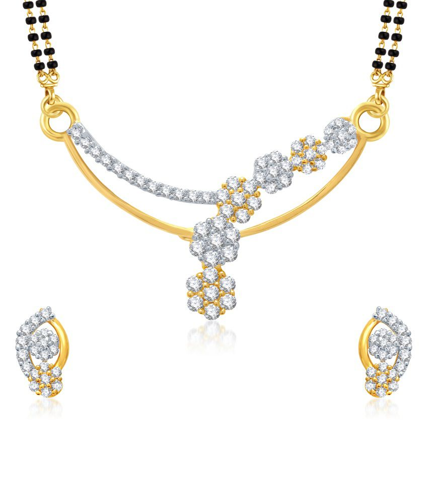 Vk Jewels Blossom Flowers Gold And Rhodium Plated Mangalsutra Pendant With Earrings