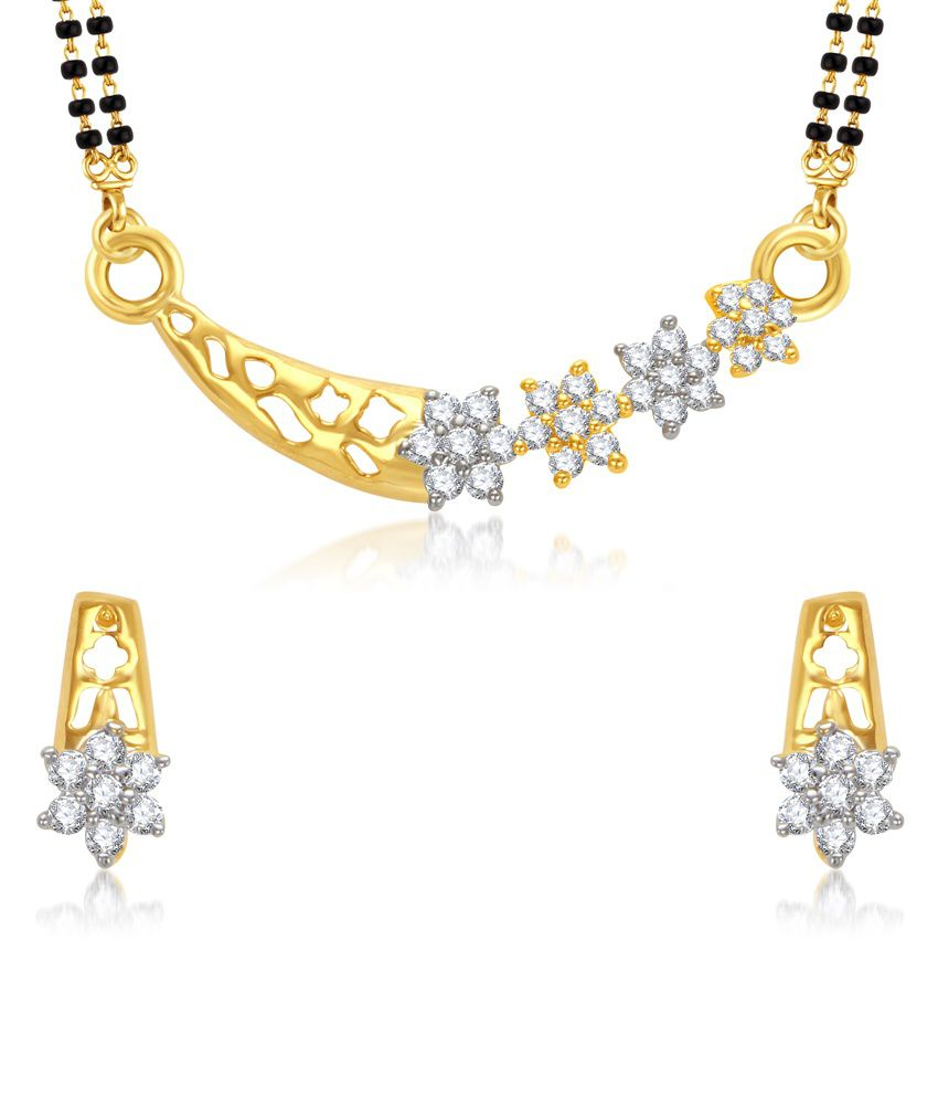 Vk Jewels Finely Looking Gold And Rhodium Plated Mangalsutra Pendant With Earrings