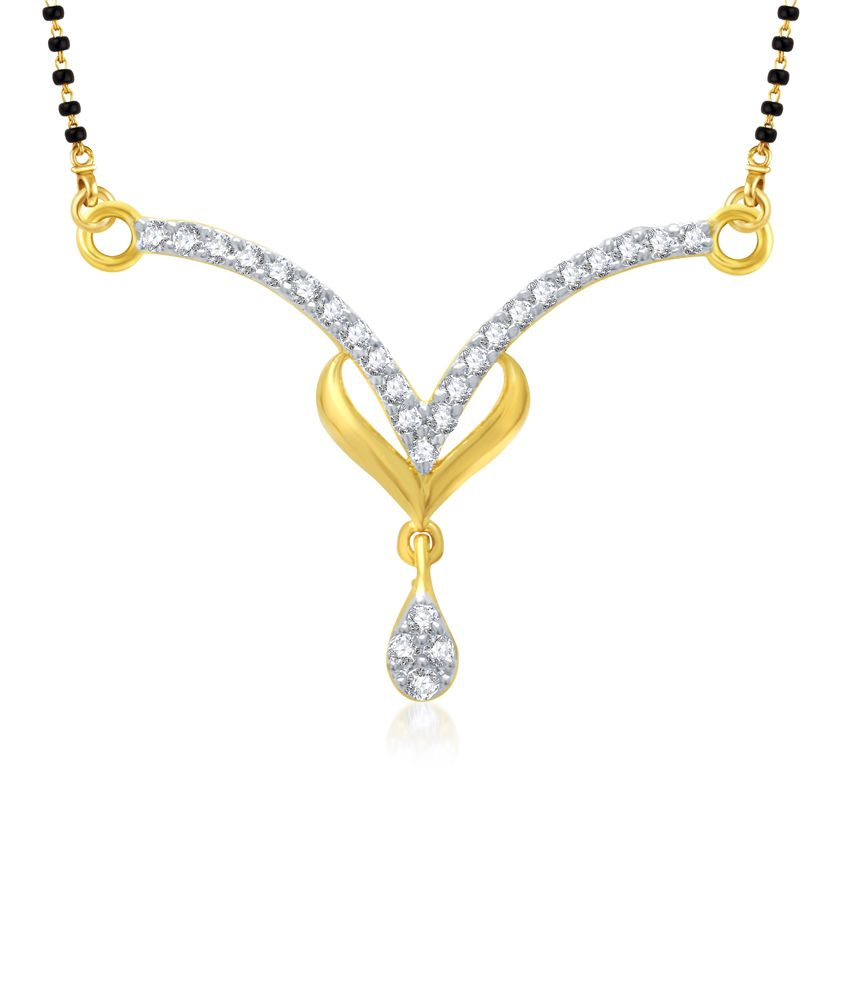 Vk Jewels Gold And Rhodium Plated Mangalsutra Pendant With Earrings