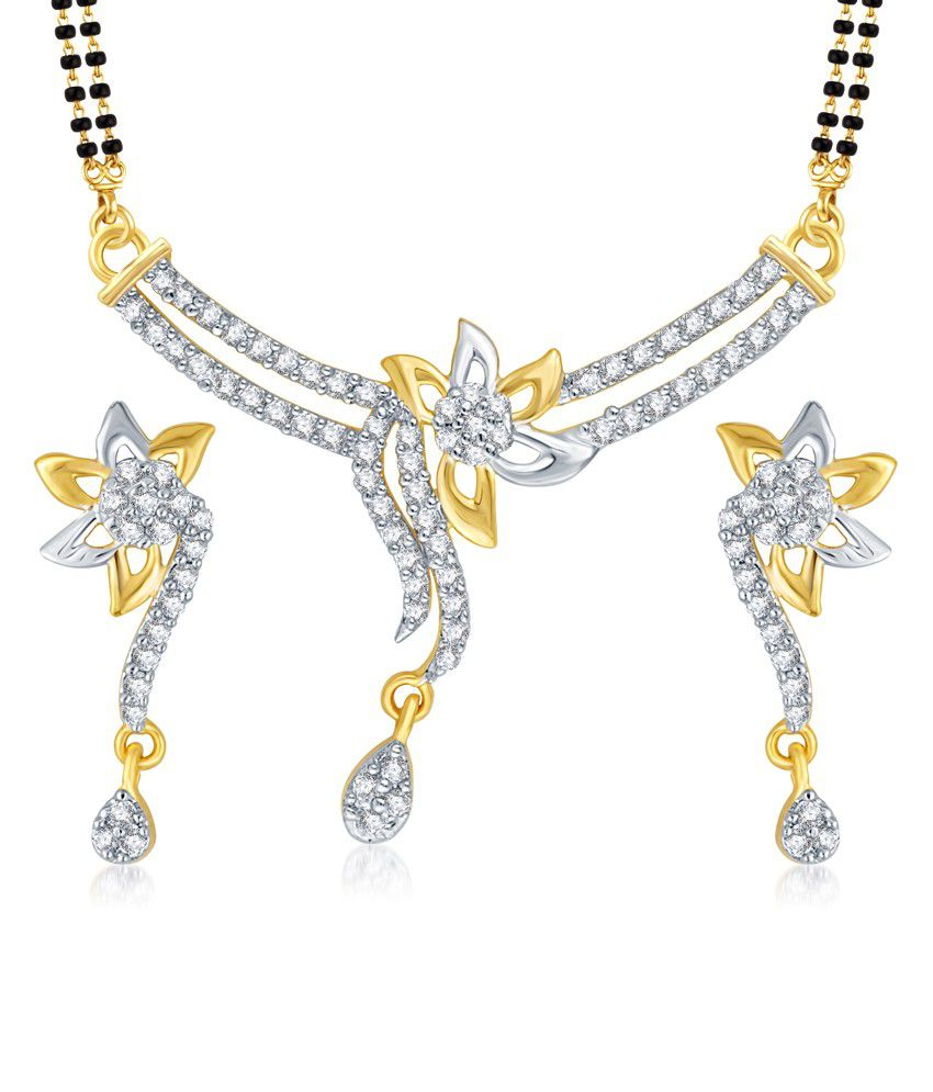 Vk Jewels Pretty Flower Gold And Rhodium Plated Mangalsutra Pendant With Earrings