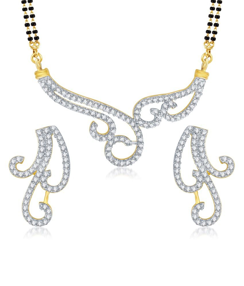 Vk Jewels Wavy Gold And Rhodium Plated Mangalsutra Pendant With Earrings