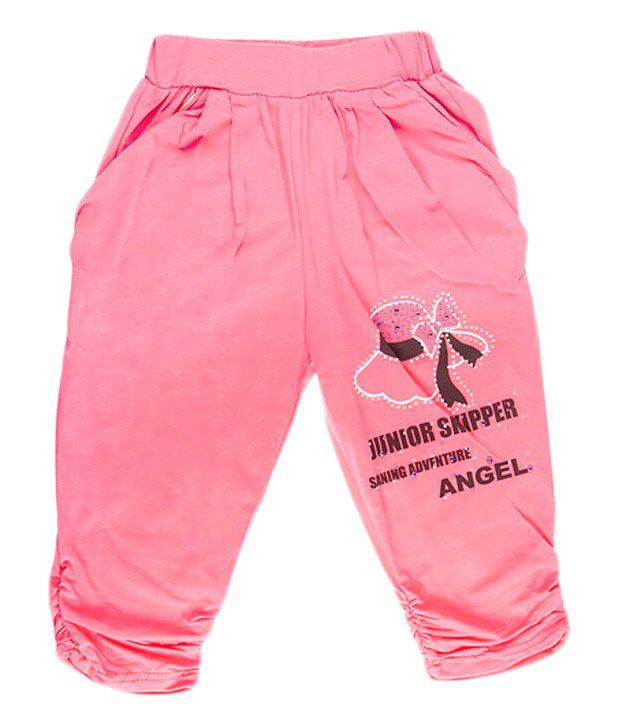 Hunny Bunny Fuschia Pink Cotton Capri For Girls