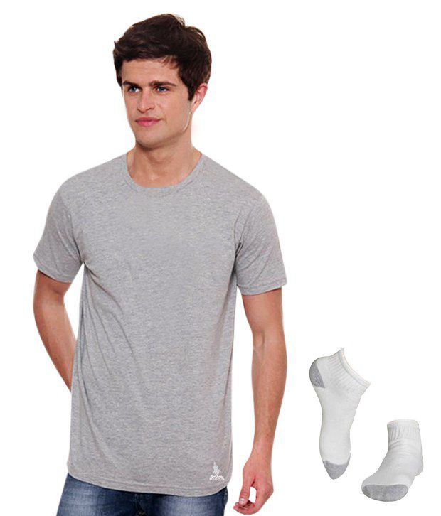 Osai Gray Cotton T-shirt Combo Of Osai Polo Club T Shirt And Catpiller Socks (set Of 3)