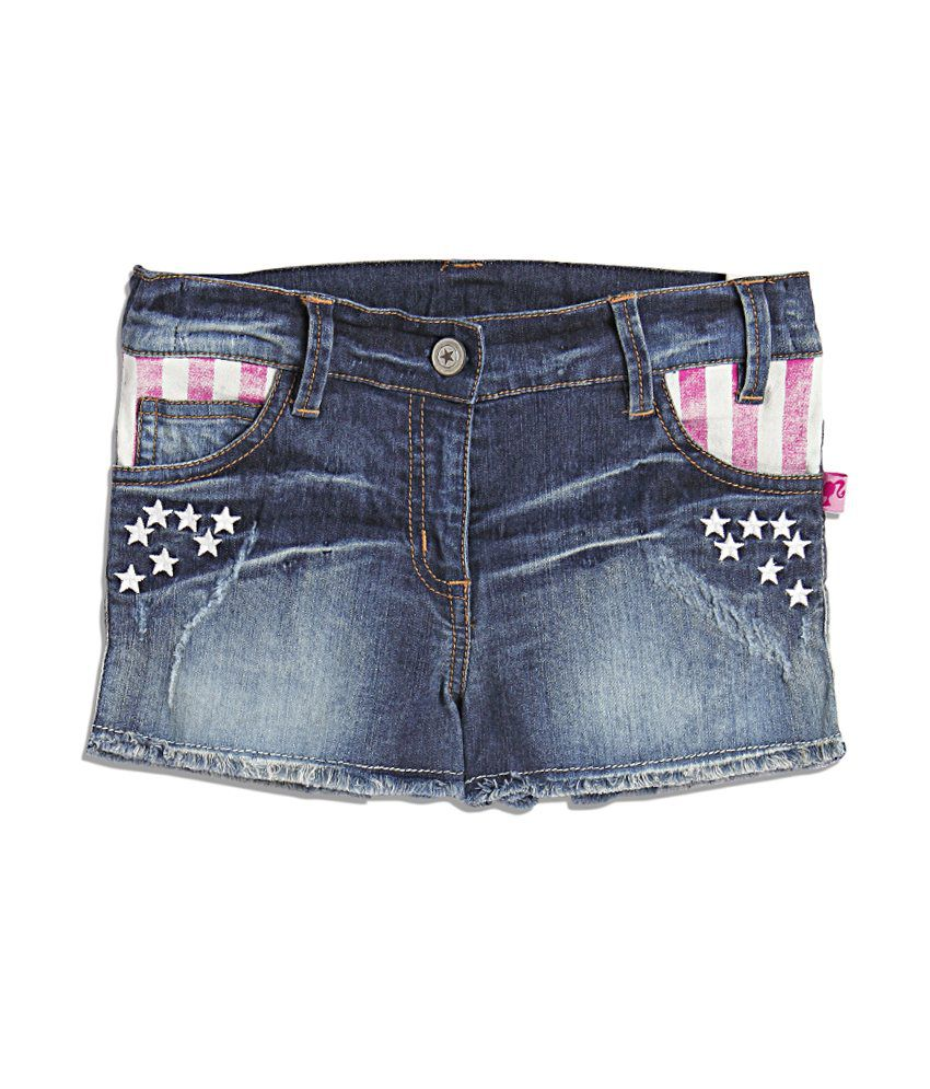 Barbie Blue Acid Wash Denim Shorty Shorts For Kids