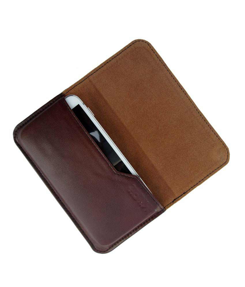Ikitpit Genuine Leather Flip Pouch Case Cover For Intex Cloud Y1