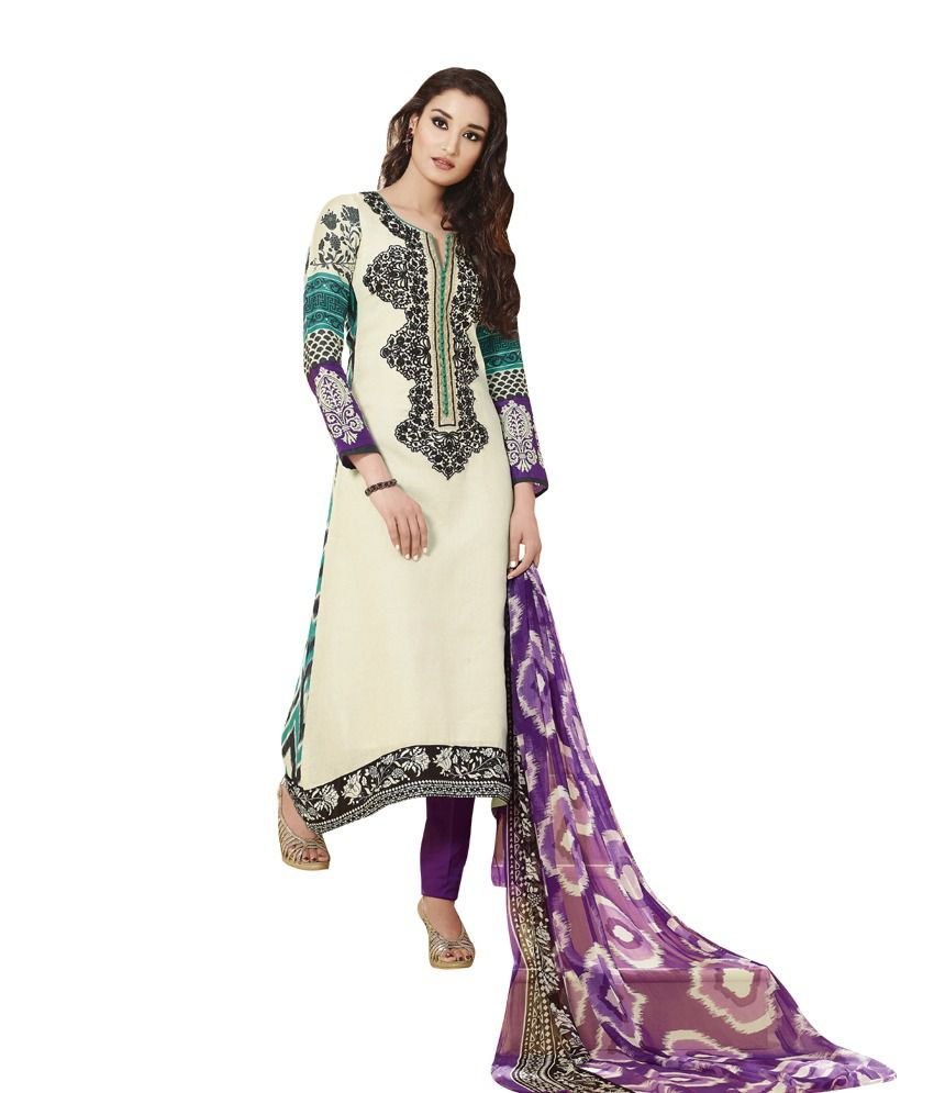 Indiweaves Casual Wear Designer Cotton Salwar Suit Dress Material