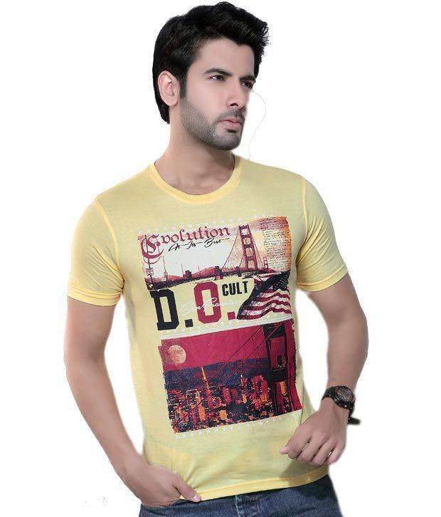 Cometodo Yellow Cotton Blend T-Shirt