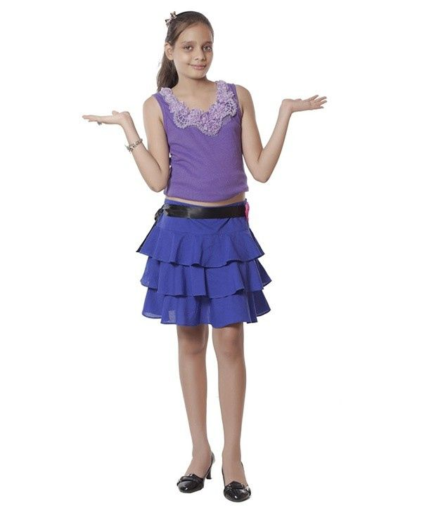 Kidzblush Blue Three Strip Skirt For Kids