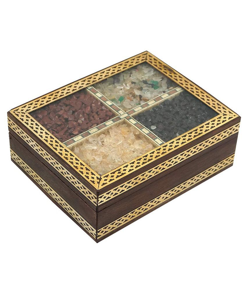 R S Jewels Indian Stone Painting Wooden Handicraft Jewelry Box