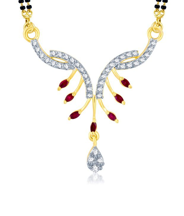 Sukkhi Fashionable Gold and Rhodium Plated Cubic Zirconia and Ruby Stone Studded Mangalsutra Pendant (Mangalsutra Mala may vary from the actual image)