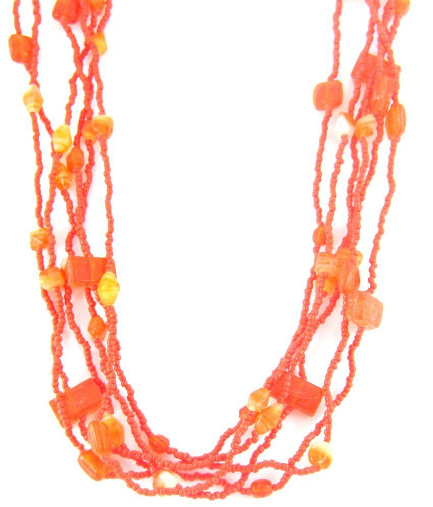 The Jewelbox Bright Orange Beaded Multi Layered Necklace
