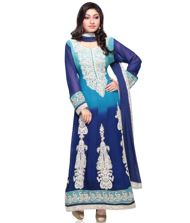 Utsav Fashion Blue Embroidered Faux Georgette Stitched A Line  Salwar Suit