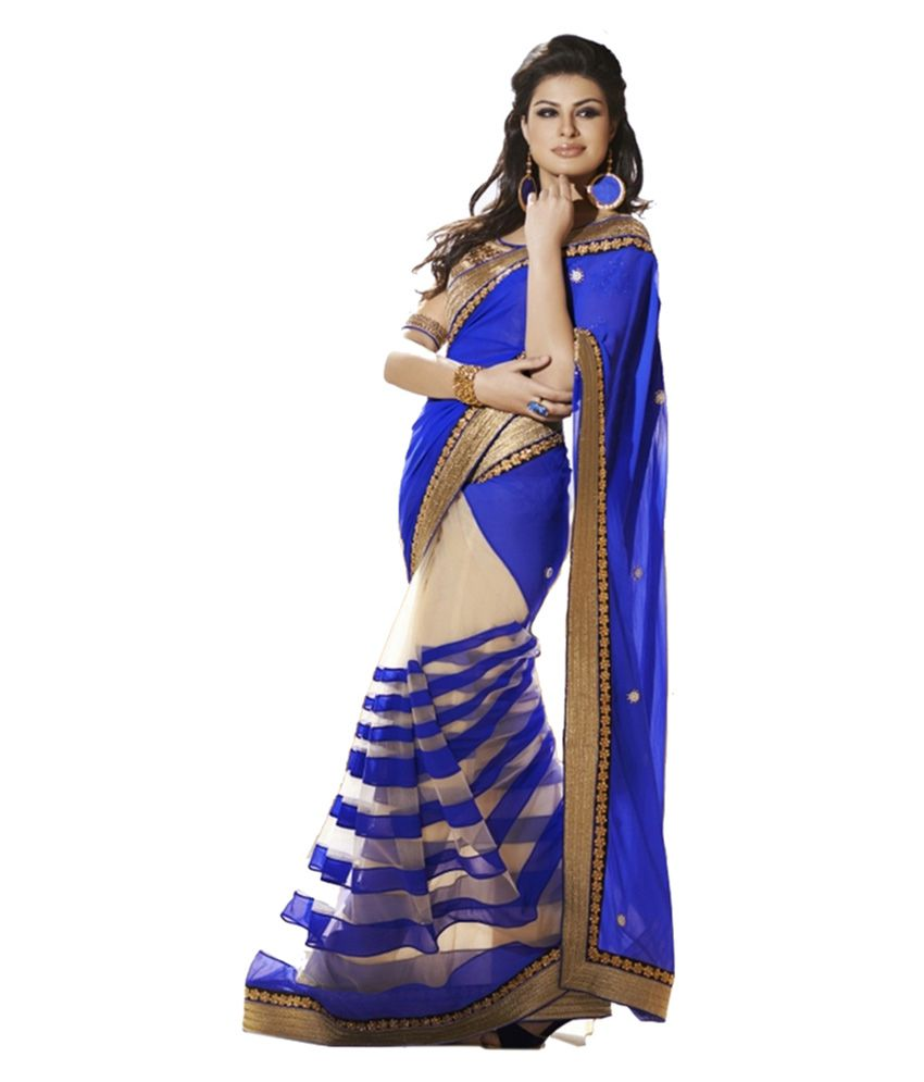 Way2 Blue and Grey Faux Georgette Saree