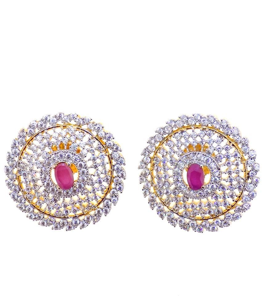 Aabhushan Jewels Ruby Look Gold Plated American Diamond Stud Earrings For Woman
