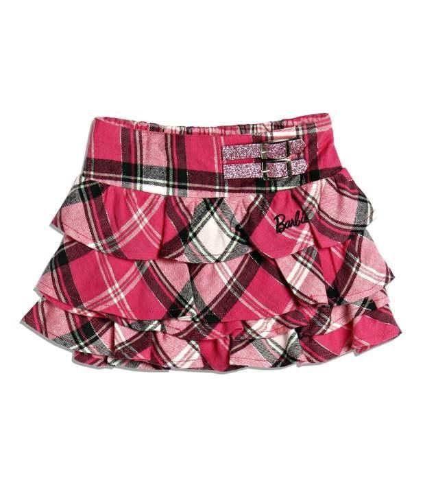 Barbie Pink Color Multi Checks Layers Skirt For Kids