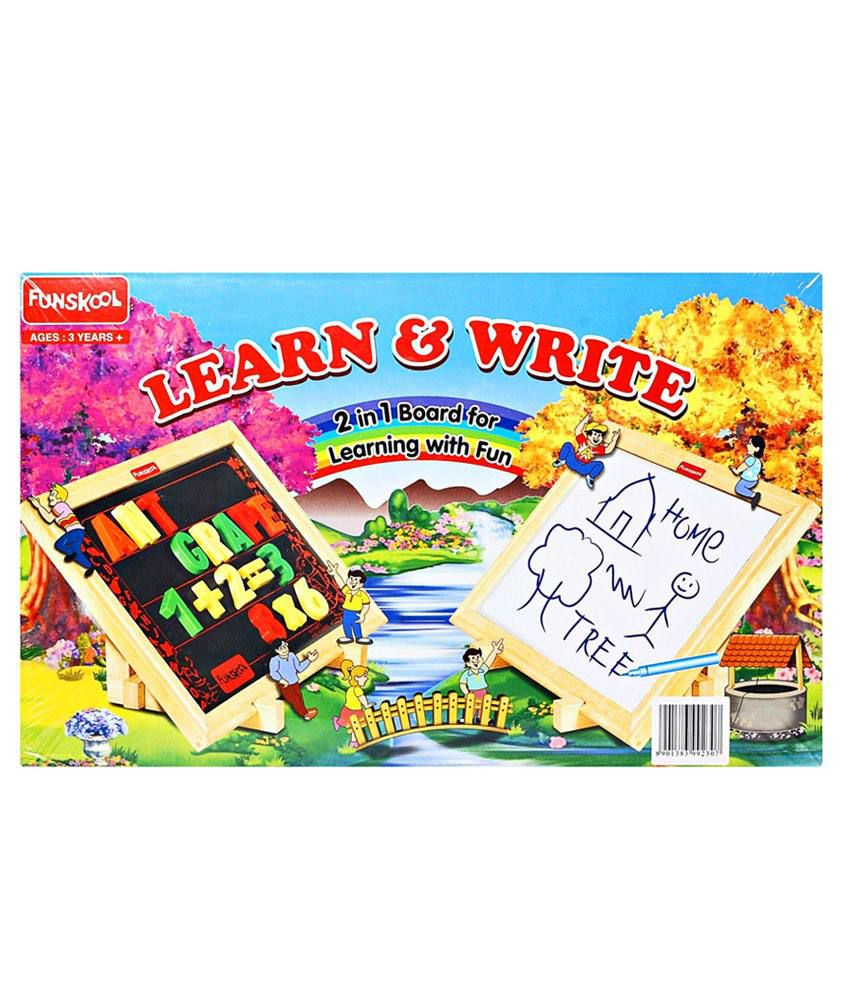 Funskool 2 in 1 Magnetic Writing Board Educational Game Educational ...