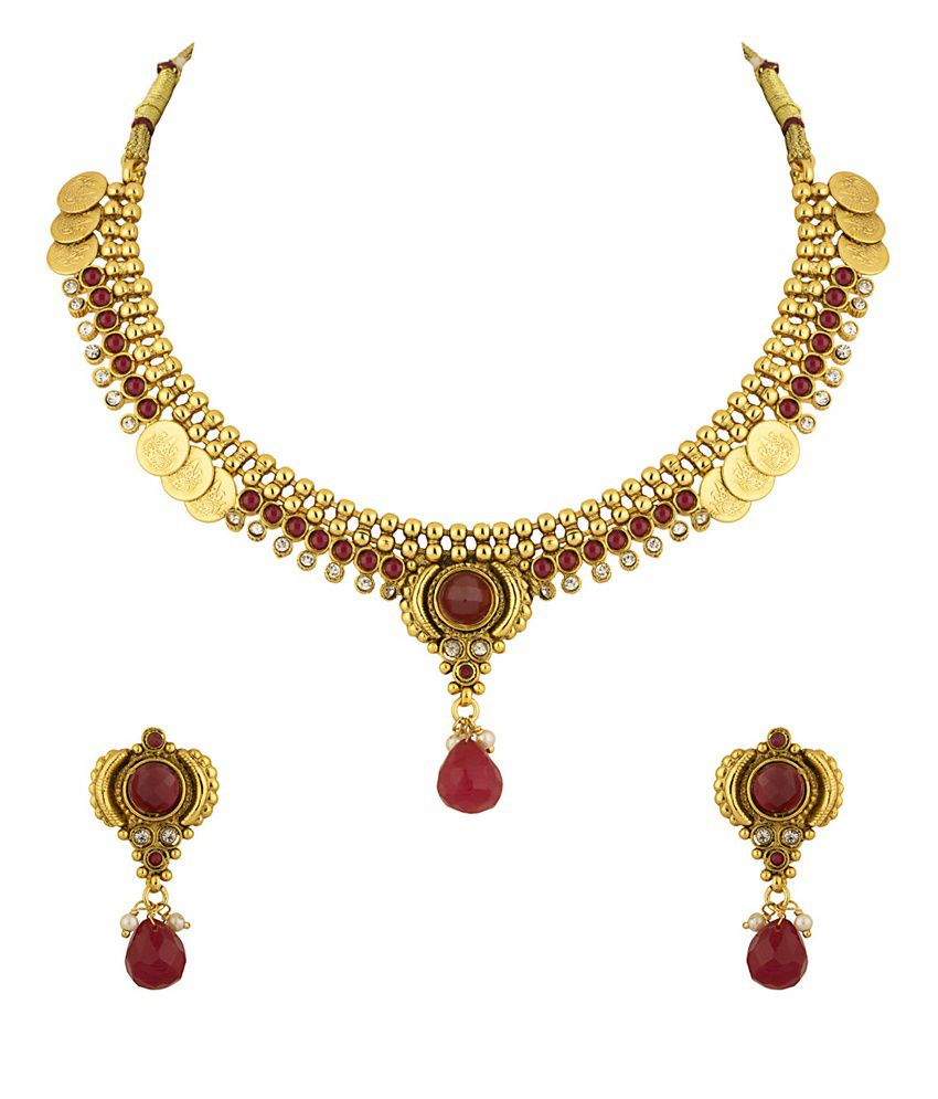 Voylla Choker Necklace Set Encrusted With Faux Ruby And CZ