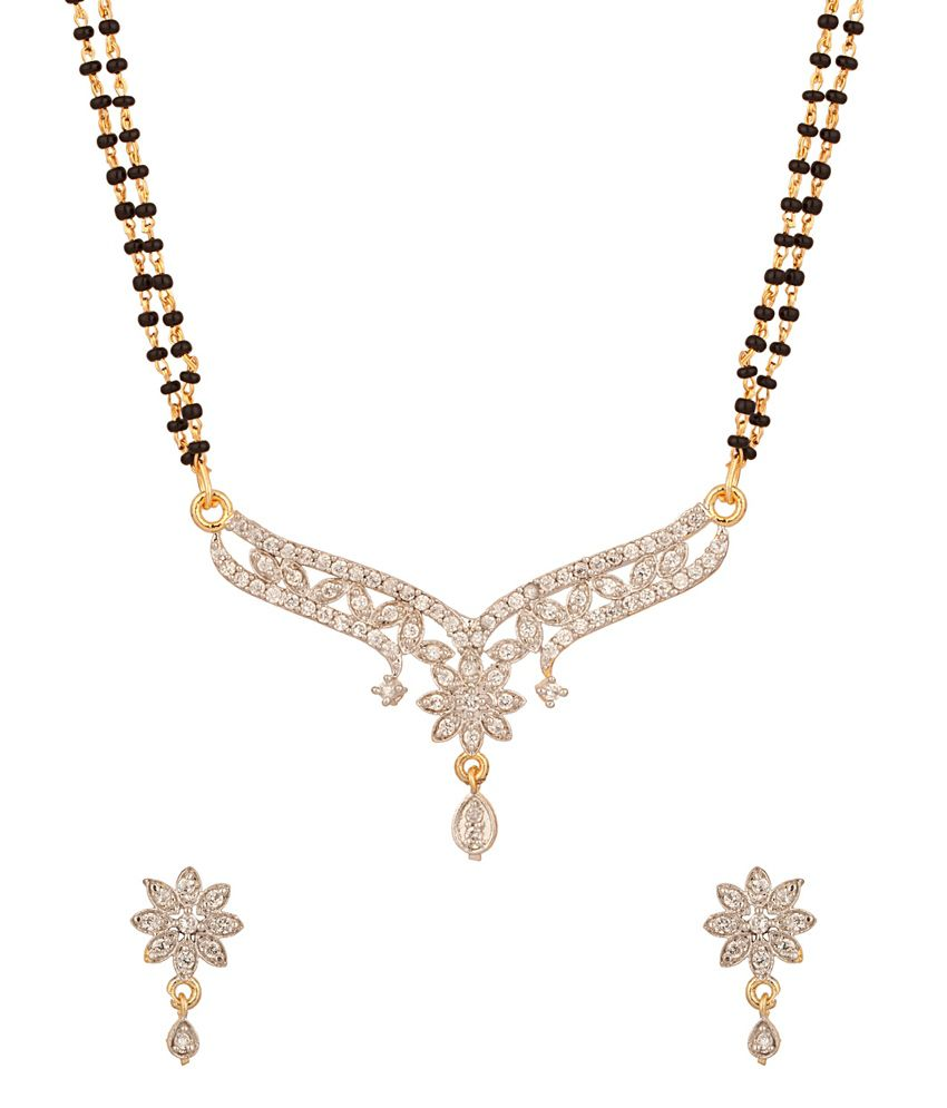Voylla Double Strand Floral Gold Plated Mangalsutra Set Embedded With Cz Stones
