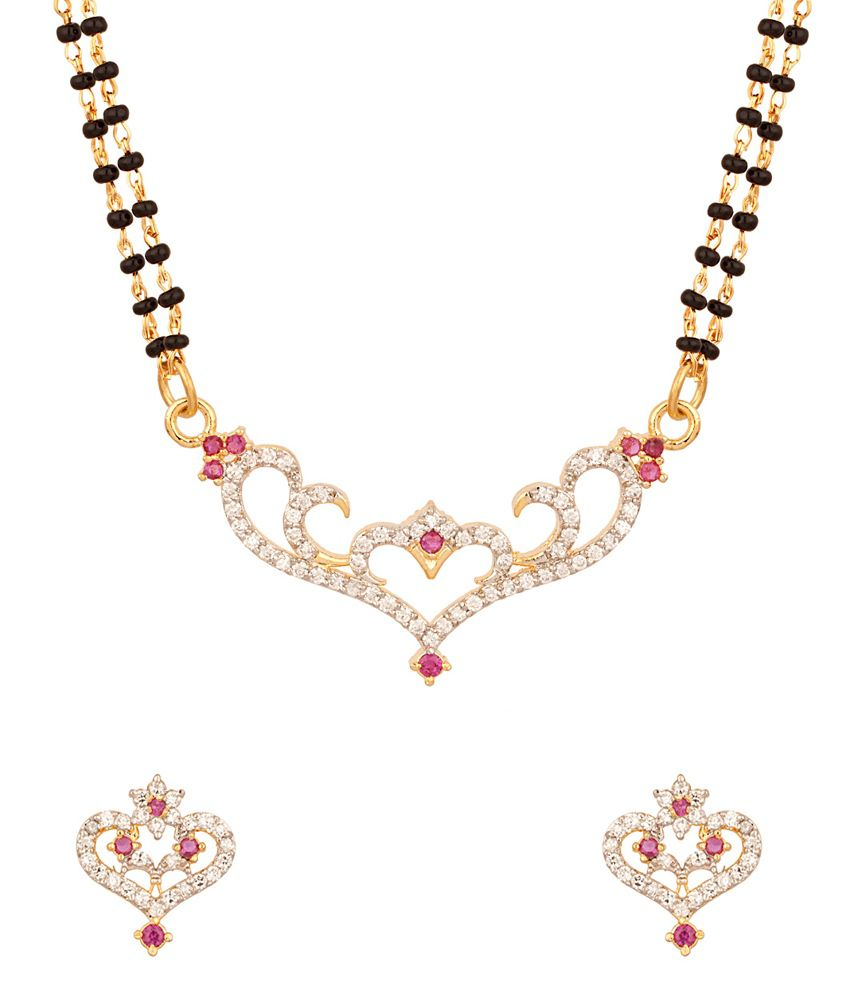Voylla Double Strand Gold Plated Mangalsutra Set With Pretty Heart Design Pendant