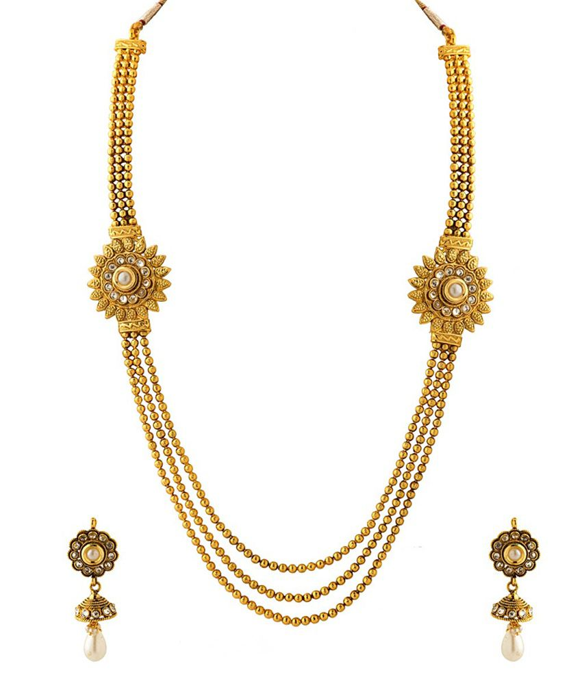 Voylla Pearl And Gold Necklace Set