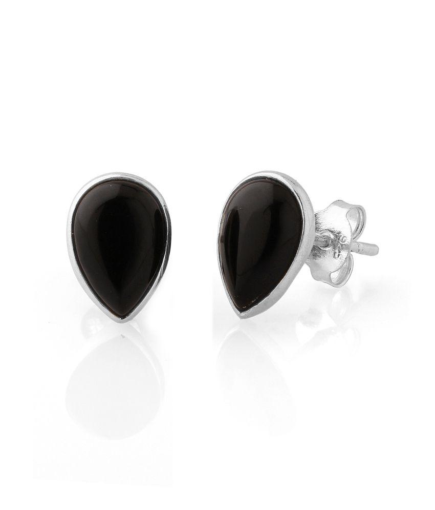 Voylla Pretty Petal Shaped Black Coloured Stud Earrings