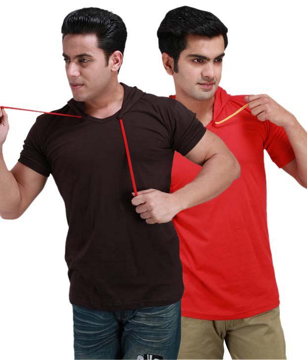 Inkovy Red Cotton  T-Shirt(Pack of 2)