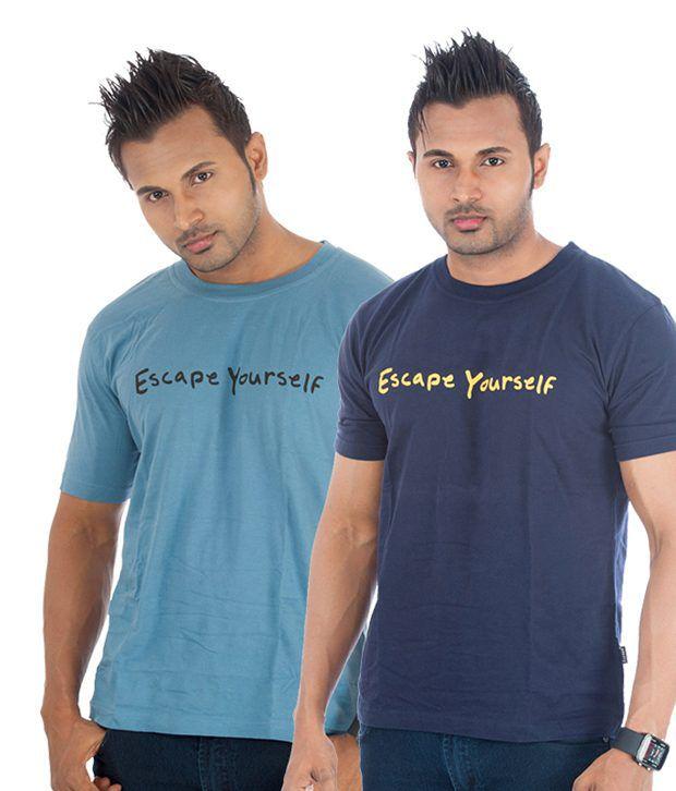 TSG Escape Multi Cotton  T-Shirt(Pack of 2)