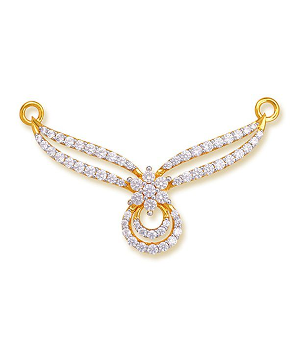 18 kt Yellow Gold with CZ Stones 3.18 Grams Tanmania Pendant By Ishtaa