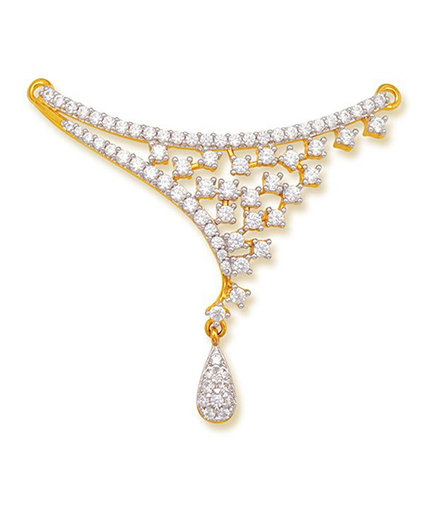 18 kt Yellow Gold with CZ Stones 4.77 Grams Tanmania Pendant By Ishtaa