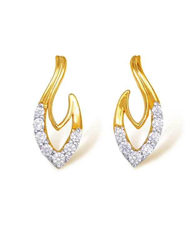 18kt Yellow Gold with CZ Stones 1.51 Grams Earrings By Ishtaa