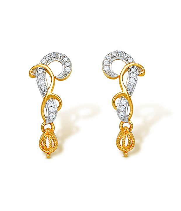 18kt Yellow Gold with CZ Stones 2.59 Grams Earrings By Ishtaa