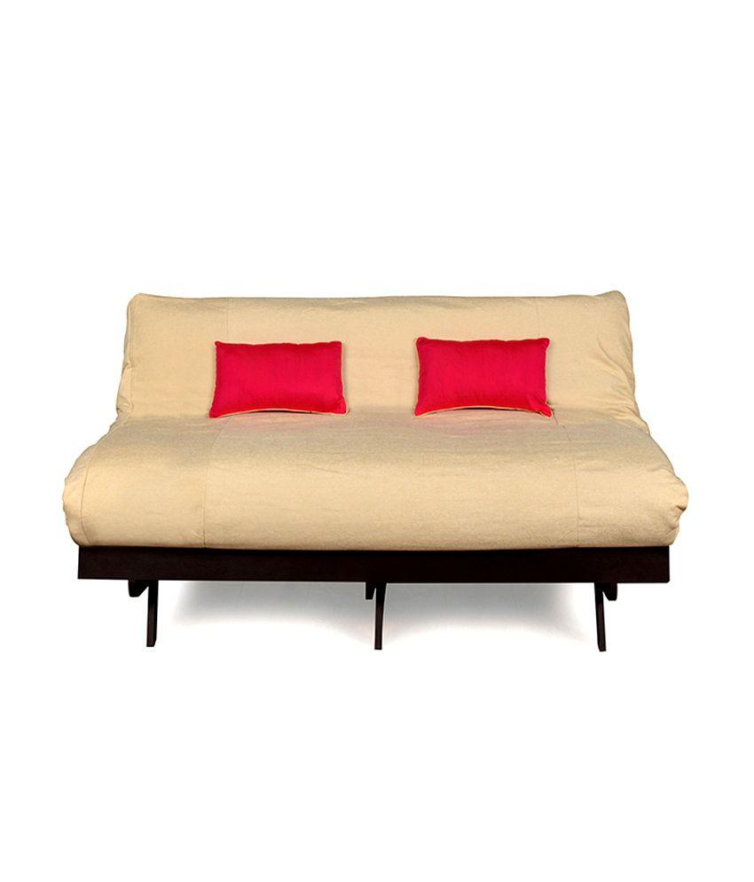 Pleasing Futon Double Sofa Cum Bed Beige Creativecarmelina Interior Chair Design Creativecarmelinacom