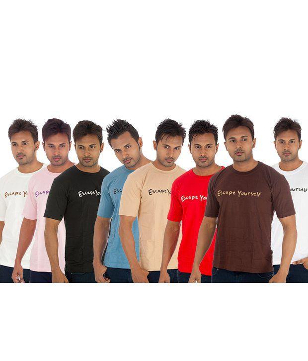 TSG Escape Multi Color T-Shirt -Pack of 8