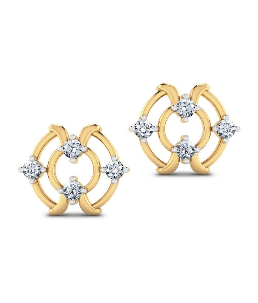 Jewel Berry Talky Walky Studs - Hallmark 18kt Gold With Certified Si/ij Diamonds