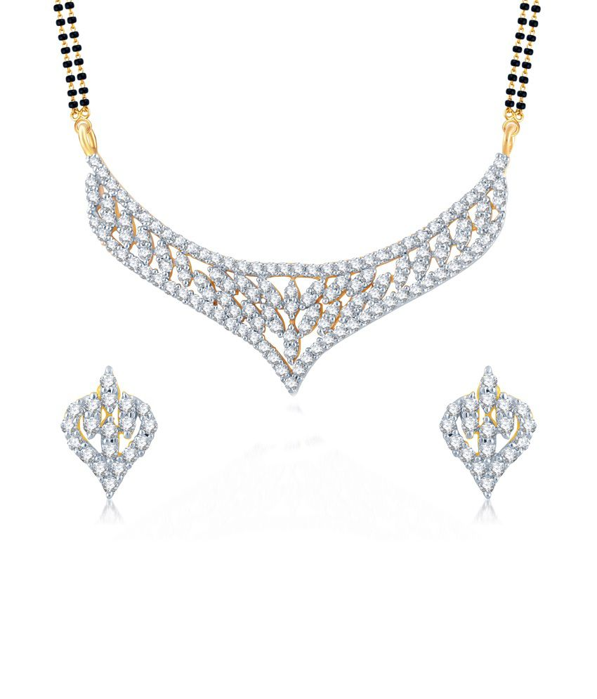 Meenaz Frolicsome Gold And Rhodium Plated Cz Mangalsutra Set.