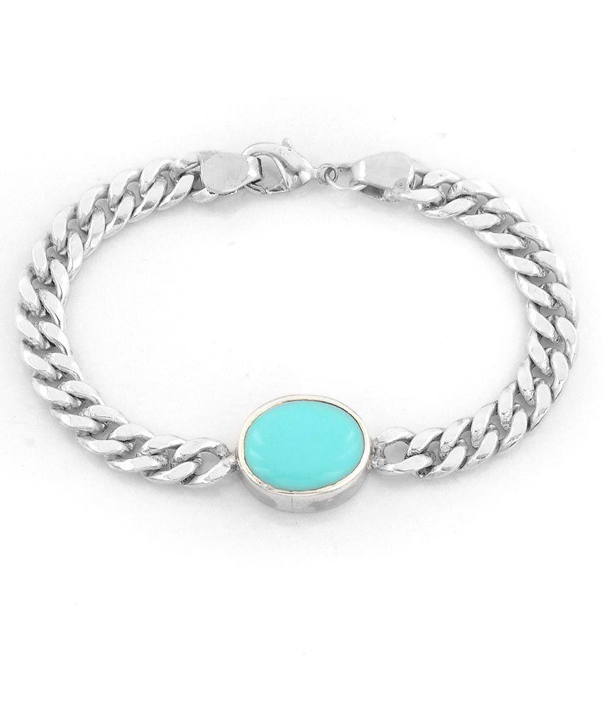 Real Turquoise Feroza 15 62 Ct Salman Khan Style Silver Bracelet