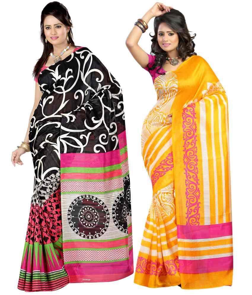 Sanju Sarees Magnificent Multi-colour Pack Of 2 Bhagalpuri Silk Sarees