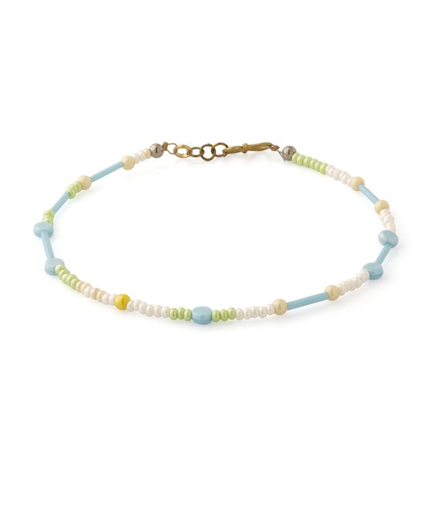 Voylla Anklet With Sky Blue and White Beads