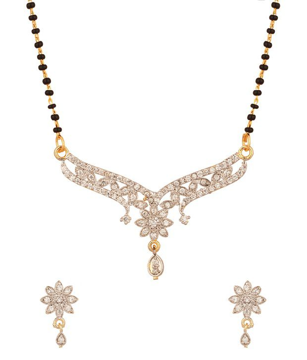 Voylla Cz Encrusted Gold Plated Mangalsutra Set With Pretty Floral Design