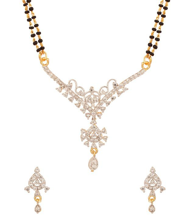 Voylla Gold Plated Cz Studded Mangalsutra Set With Exotic Design, Drop Dangle