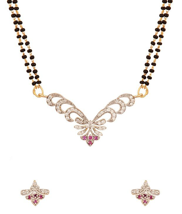 Voylla Gold Plated Double Chain Mangalsutra Set Adorned With Cz Stones