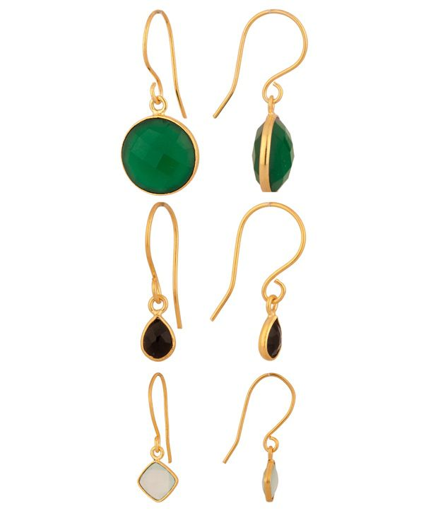 Voylla Semi-Precious Stone Studded Earring Combo With Gold Plating