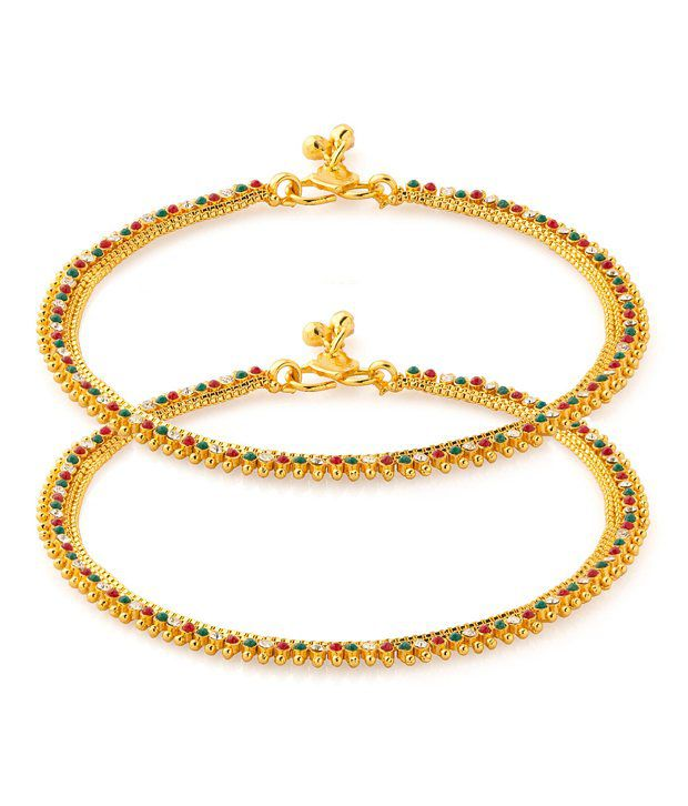 Voylla Vibrant Anklet Pair With Gold Plating