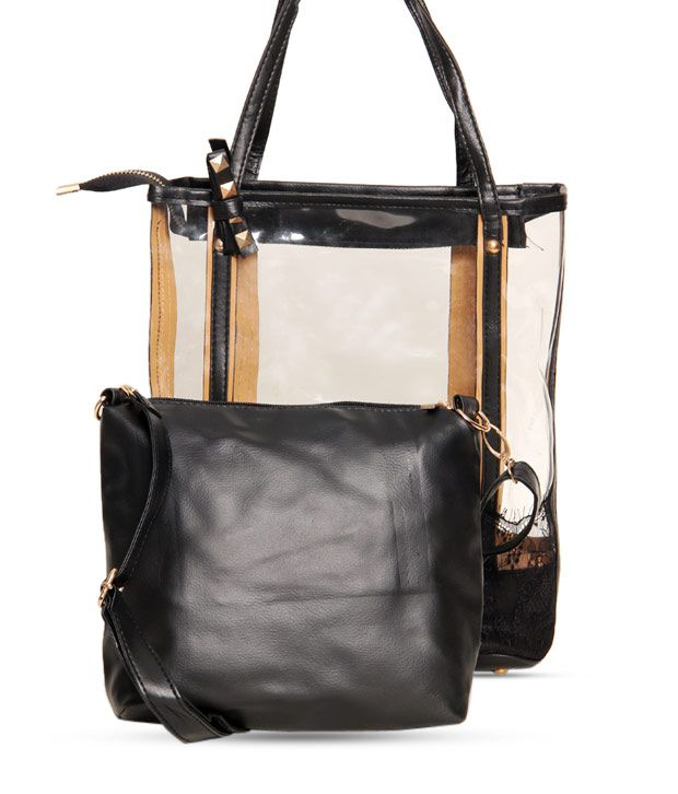 1 Bolzo Black Tote Bag & Sling Bag Set