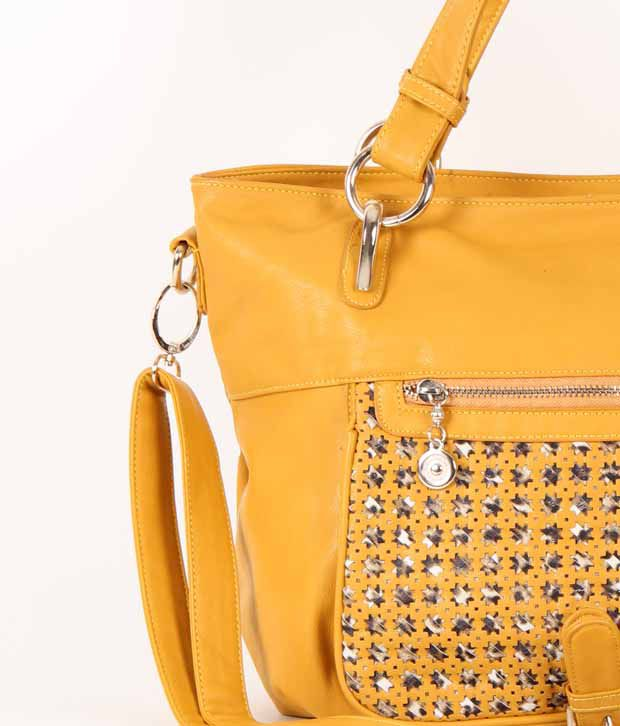 1 To All Bags Mustard Yellow With A Beautiful Cut Work Design Pocket Classy Handbag